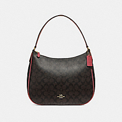 COACH F29209 Zip Shoulder Bag In Signature Canvas BROWN/RUBY/IMITATION GOLD