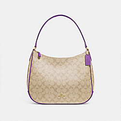 ZIP SHOULDER BAG IN SIGNATURE CANVAS - F29209 - LIGHT KHAKI/PRIMROSE/IMITATION GOLD