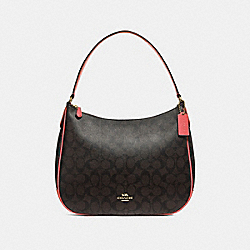 COACH F29209 Zip Shoulder Bag In Signature Canvas BROWN/CORAL/IMITATION GOLD