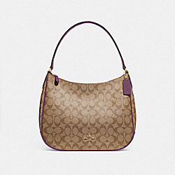 COACH F29209 Zip Shoulder Bag In Signature Canvas KHAKI/BLACKBERRY/GOLD