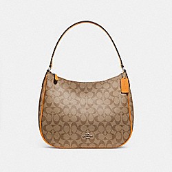 COACH F29209 Zip Shoulder Bag In Signature Canvas KHAKI/TANGERINE/SILVER