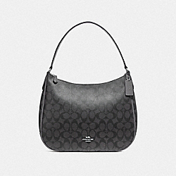 COACH F29209 Zip Shoulder Bag In Signature Canvas BLACK SMOKE/BLACK/SILVER