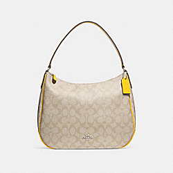 ZIP SHOULDER BAG IN SIGNATURE CANVAS - f29209 - LIGHT KHAKI/CANARY/SILVER