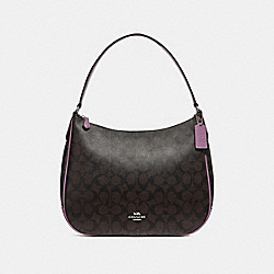 COACH F29209 Zip Shoulder Bag In Signature Canvas BROWN/AZALEA/SILVER