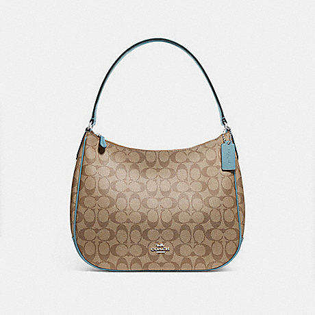 COACH f29209 ZIP SHOULDER BAG IN SIGNATURE CANVAS KHAKI/CYAN/SILVER