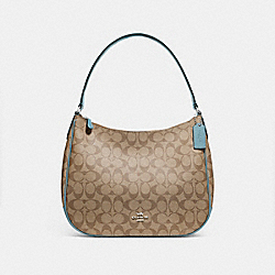 COACH F29209 - ZIP SHOULDER BAG IN SIGNATURE CANVAS KHAKI/CYAN/SILVER