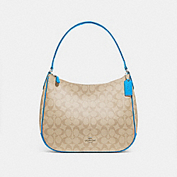 ZIP SHOULDER BAG IN SIGNATURE CANVAS - f29209 - light khaki/bright blue/silver