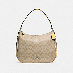 COACH F29209 - ZIP SHOULDER BAG IN SIGNATURE CANVAS LIGHT KHAKI/LIGHT YELLOW/SILVER