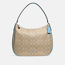 ZIP SHOULDER BAG IN SIGNATURE CANVAS - F29209 - LIGHT KHAKI/POWDER BLUE/SILVER