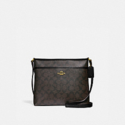 FILE CROSSBODY IN SIGNATURE CANVAS - f29210 - BROWN/BLACK/IMITATION GOLD