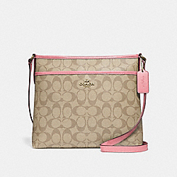 FILE CROSSBODY IN SIGNATURE CANVAS - f29210 - light khaki/peony/light gold