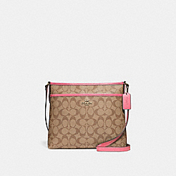 COACH F29210 File Crossbody In Signature Canvas KHAKI/PINK RUBY/GOLD