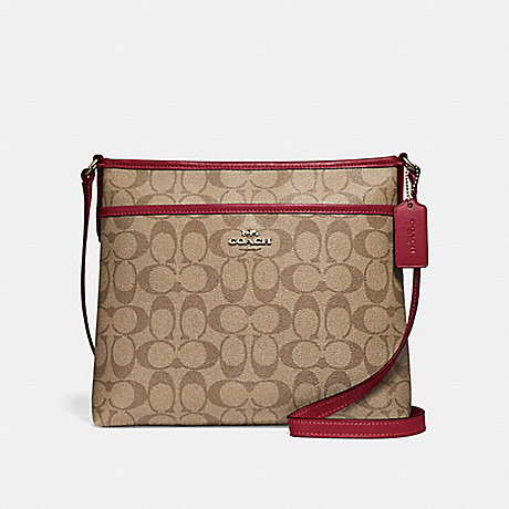 COACH F29210 FILE CROSSBODY IN SIGNATURE CANVAS KHAKI/CHERRY/LIGHT-GOLD