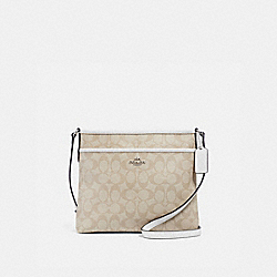 FILE CROSSBODY IN SIGNATURE CANVAS - f29210 - LIGHT KHAKI/CHALK/IMITATION GOLD