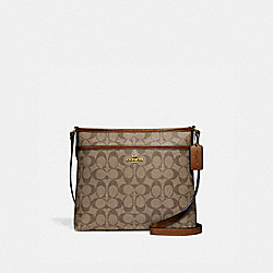 COACH F29210 - FILE CROSSBODY IN SIGNATURE CANVAS KHAKI/SADDLE 2/LIGHT GOLD