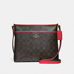 FILE CROSSBODY IN SIGNATURE CANVAS - F29210 - BROWN/TRUE RED/LIGHT GOLD