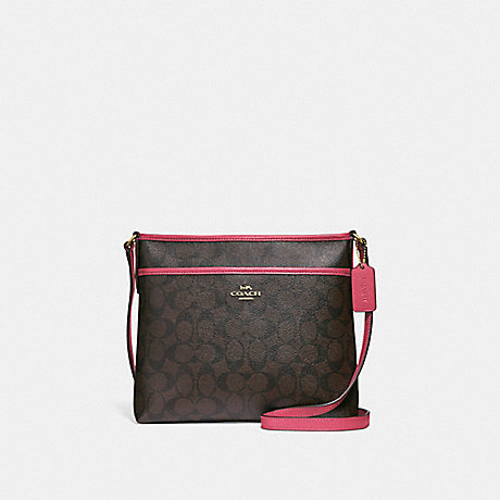 COACH F29210 FILE CROSSBODY IN SIGNATURE CANVAS BROWN/STRAWBERRY/IMITATION GOLD