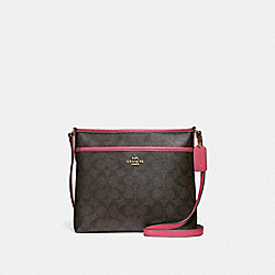 FILE CROSSBODY IN SIGNATURE CANVAS - F29210 - BROWN/STRAWBERRY/IMITATION GOLD