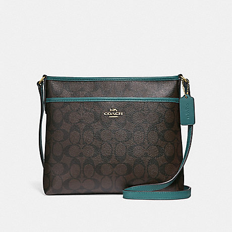 COACH F29210 FILE CROSSBODY IN SIGNATURE CANVAS BROWN/DARK-TURQUOISE/LIGHT-GOLD