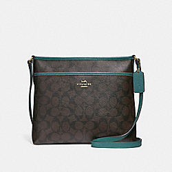 COACH F29210 File Crossbody In Signature Canvas BROWN/DARK TURQUOISE/LIGHT GOLD