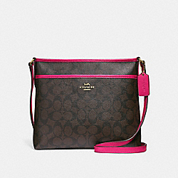 FILE CROSSBODY IN SIGNATURE CANVAS - F29210 - BROWN/NEON PINK/LIGHT GOLD