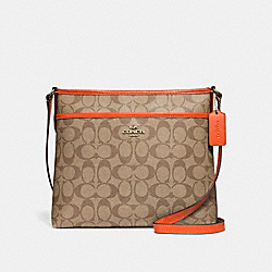 FILE CROSSBODY IN SIGNATURE CANVAS - F29210 - KHAKI/NEON ORANGE/LIGHT GOLD