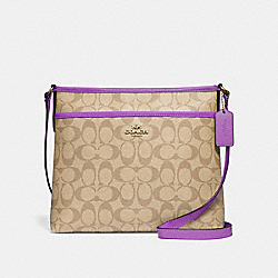 FILE CROSSBODY IN SIGNATURE CANVAS - F29210 - LIGHT KHAKI/PRIMROSE/IMITATION GOLD