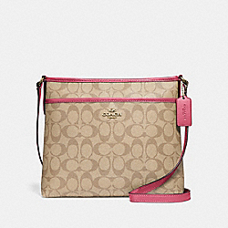 FILE CROSSBODY IN SIGNATURE CANVAS - F29210 - LIGHT KHAKI/ROUGE/GOLD