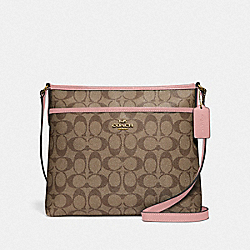 COACH F29210 File Crossbody In Signature Canvas IM/KHAKI PINK PETAL