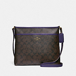 FILE CROSSBODY IN SIGNATURE CANVAS - F29210 - IM/BROWN DARK PURPLE