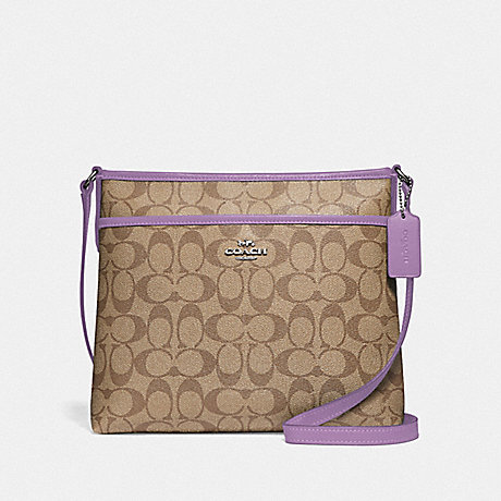COACH F29210 FILE CROSSBODY IN SIGNATURE CANVAS KHAKI/LILAC/SILVER