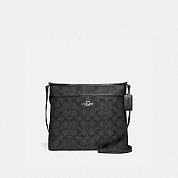 FILE CROSSBODY IN SIGNATURE CANVAS - F29210 - SV/BLACK SMOKE/BLACK