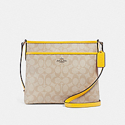 COACH F29210 File Crossbody In Signature Canvas LIGHT KHAKI/CANARY/SILVER