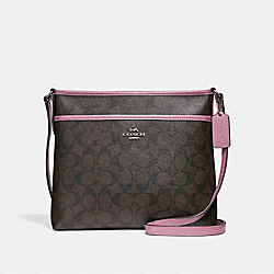 FILE CROSSBODY IN SIGNATURE CANVAS - f29210 - brown/Azalea/silver