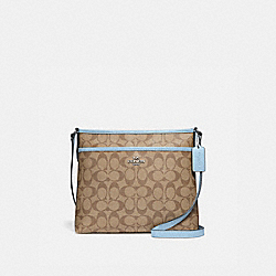 FILE CROSSBODY IN SIGNATURE CANVAS - f29210 - khaki/pale blue/silver