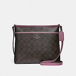 FILE CROSSBODY IN SIGNATURE CANVAS - f29210 - brown/dusty rose/silver