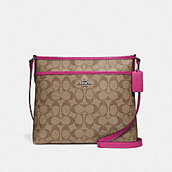 FILE CROSSBODY IN SIGNATURE CANVAS - F29210 - KHAKI/CERISE/SILVER