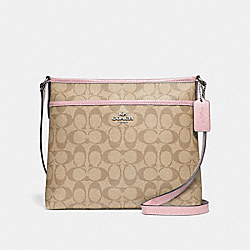 FILE CROSSBODY IN SIGNATURE CANVAS - F29210 - LIGHT KHAKI/CARNATION/SILVER
