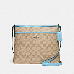COACH F29210 File Crossbody In Signature Canvas LIGHT KHAKI/POWDER BLUE/SILVER