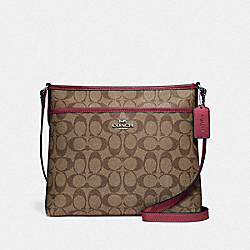COACH F29210 - FILE CROSSBODY IN SIGNATURE CANVAS SV/KHAKI DARK FUCHSIA