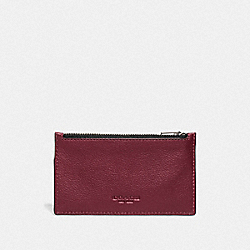 COACH F29272 - ZIP CARD CASE CARDINAL/BLACK ANTIQUE NICKEL