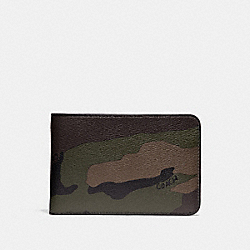 SLIM TRAVEL WALLET WITH CAMO PRINT - f29280 - DARK GREEN