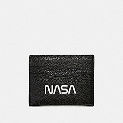 SLIM CARD CASE WITH SPACE MOTIF - f29297 - BLACK