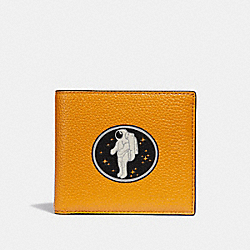 DOUBLE BILLFOLD WALLET WITH ROCKET SPACE MOTIF - f29298 - TANGERINE