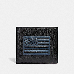 COACH F29300 Double Billfold Wallet With Flag Motif BLACK