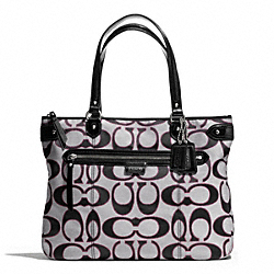COACH F29302 - DAISY OUTLINE SIGNATURE TOTE SILVER/MOONLIGHT/PK SCARLET
