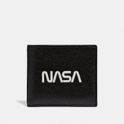 DOUBLE BILLFOLD WALLET WITH SPACE MOTIF - f29309 - BLACK