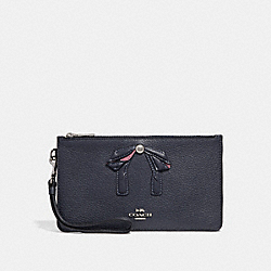 CROSBY CLUTCH WITH BOW - f29317 - MIDNIGHT NAVY/SILVER