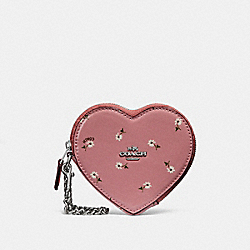 COACH F29319 Heart Coin Case With Ditsy Daisy Print And Bow Zip Pull VINTAGE PINK MULTI /SILVER