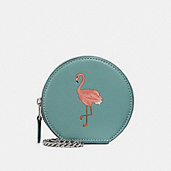COACH F29322 Round Coin Case With Flamingo Motif SILVER/AQUAMARINE